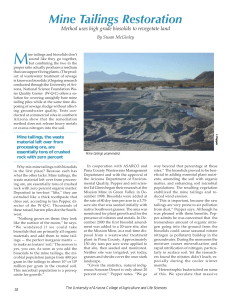 M Mine Tailings Restoration Method uses high grade biosolids to revegetate land