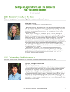 College of Agriculture and Life Sciences 2007 Research Awards By Colin Kaltenbach