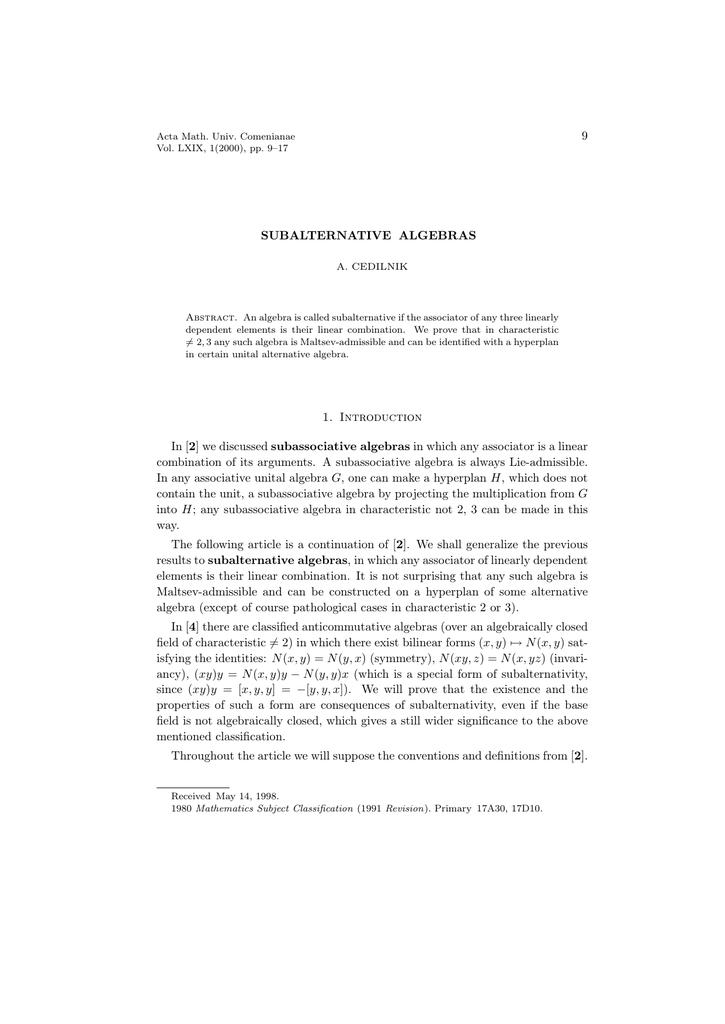 Non-associative algebras