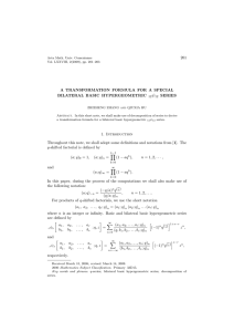 ψ 201 A TRANSFORMATION FORMULA FOR A SPECIAL BILATERAL BASIC HYPERGEOMETRIC