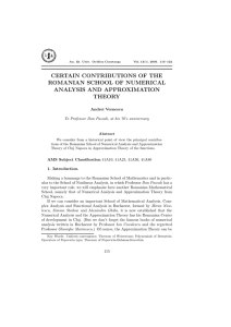 CERTAIN CONTRIBUTIONS OF THE ROMANIAN SCHOOL OF NUMERICAL ANALYSIS AND APPROXIMATION THEORY