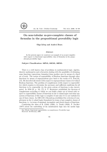 On non-tabular m-pre-complete classes of formulas in the propositional provability logic