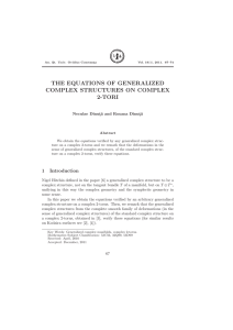 THE EQUATIONS OF GENERALIZED COMPLEX STRUCTURES ON COMPLEX 2-TORI Neculae Dinut