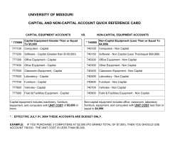 UNIVERSITY OF MISSOURI C CAPITAL AND NON-CAPITAL AC OUNT QUICK REFERENCE CARD