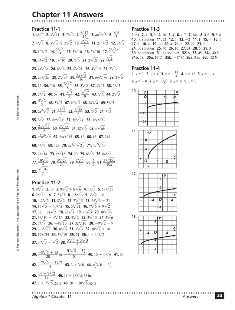 Worksheets Prentice Hall Algebra 1 Worksheet Answers chapter 11 answers practice 1