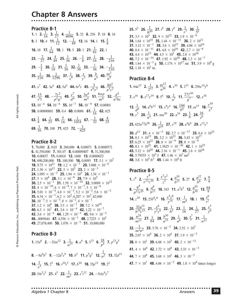 prentice hall algebra 1 homework answers