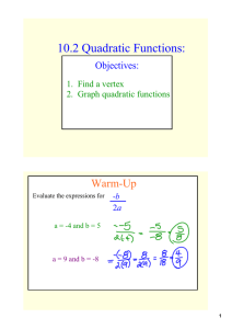 10.2 Quadratic Functions: Warm­Up Objectives: 1.  Find a vertex