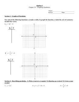 Chapter 10 – Graphing Quadratics  Name ____________________________ Period ___________ Date ____________