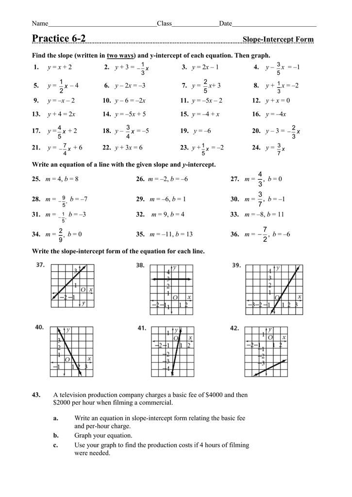 Practice 6 2 Slope Intercept Form