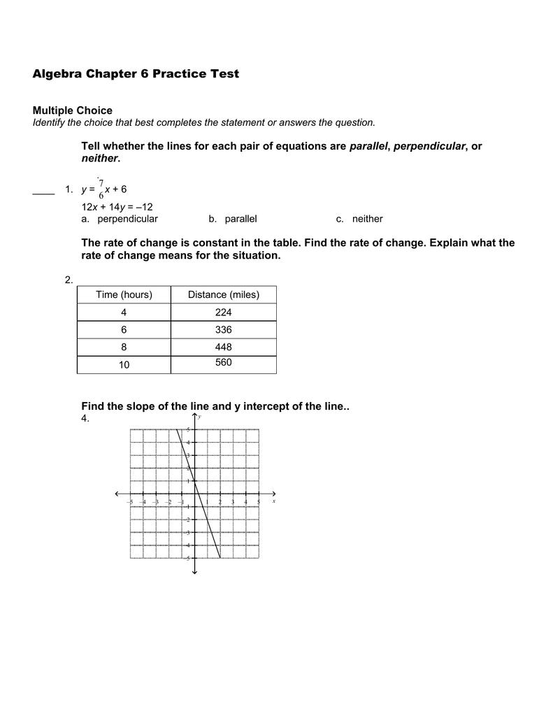 Algebra Chapter 6 Practice Test