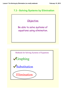 Graphing Substitution Elimination 7.3 ­ Solving Systems by Elimination