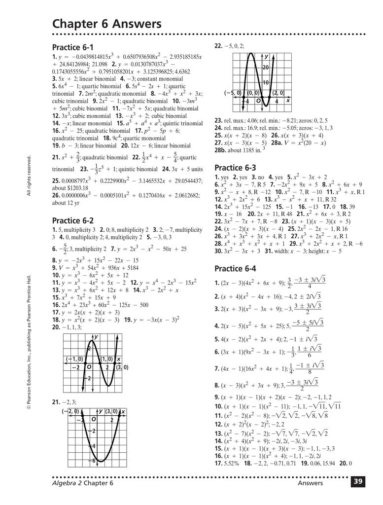 algebra 2 pearson homework answers