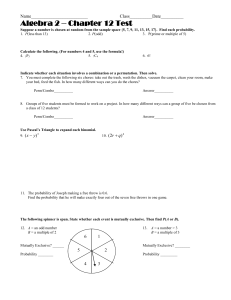 Algebra 2 – Chapter 12 Test Name_________________________  Class__________Date__________