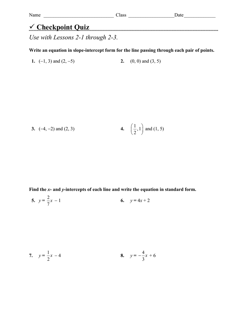 Checkpoint quiz use with lessons 2 1 through 2 3 falaconquin