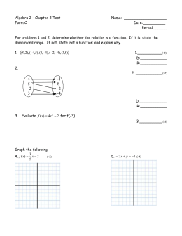 Algebra 2 – Chapter 2 Test  Name:  ___________________ Form C