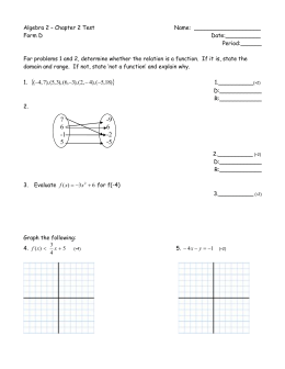 Algebra 2 – Chapter 2 Test  Name:  ___________________ Form D