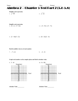 Algebra 2 – Chapter 5 Test Part 2 (5.6-5.8) Name________________________________ Date__________ Period__________ 12