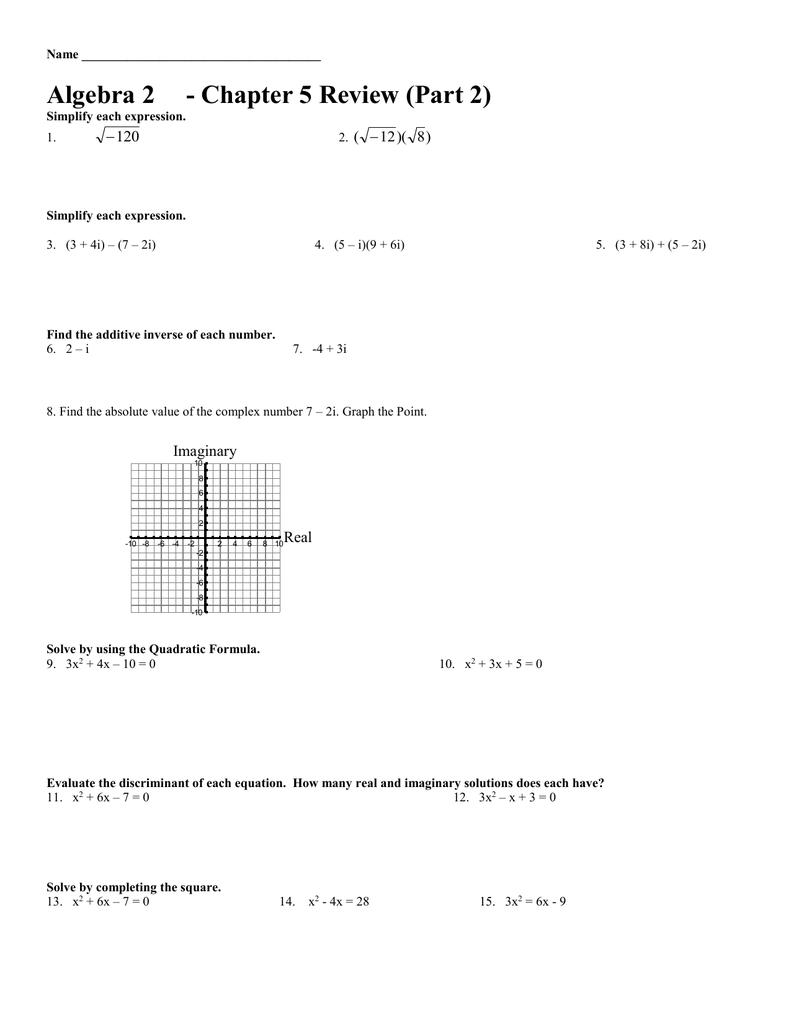 Algebra 233 - Chapter 233 Review (Part 233)  Pertaining To Algebra 2 Review Worksheet