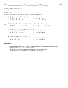 Dividing Polynomials Review