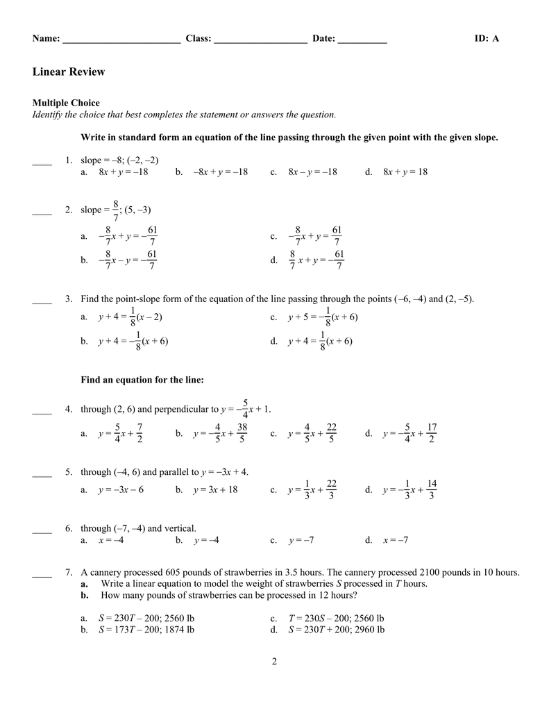 point slope form multiple choice questions  Linear Review