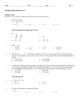 Solving Polynomials Review