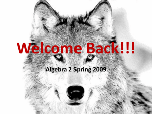 Welcome Back!!! Algebra 2 Spring 2009