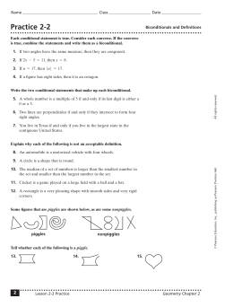 Geometry Worksheet S 21 22 Name Rewrite The Conditional - Fill ...