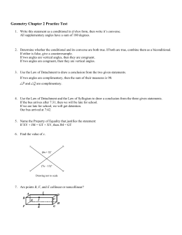 Geometry Chapter 2 Practice Test Answer Key