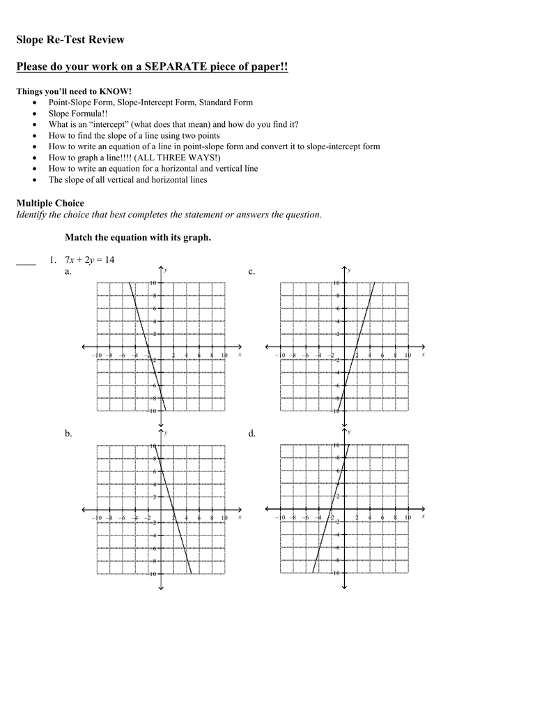 point slope form multiple choice questions  Slope Re-Test Review