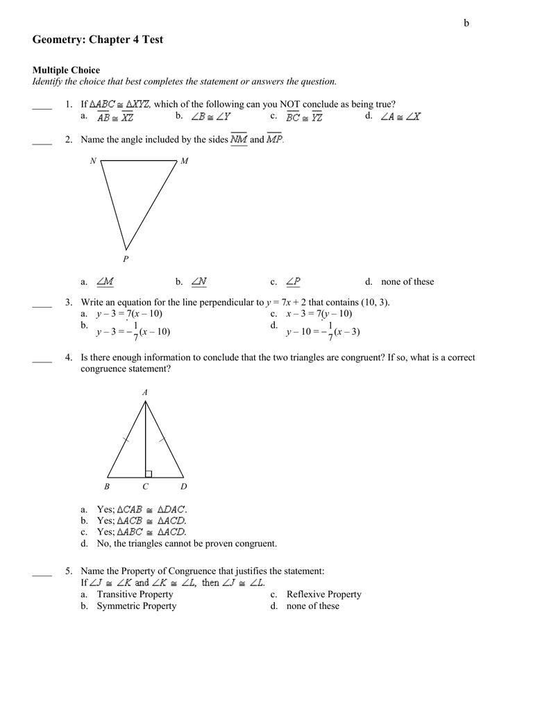 worksheet Define Reflexive Property geometry chapter 4 test b