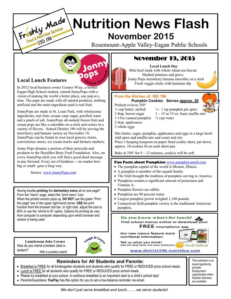 Nutrition News Flash November 2015 Rosemount-Apple Valley
