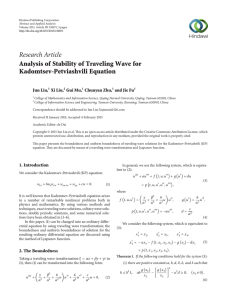 Research Article Analysis of Stability of Traveling Wave for Kadomtsev-Petviashvili Equation Jun Liu,