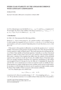 HYERS-ULAM STABILITY OF THE LINEAR RECURRENCE WITH CONSTANT COEFFICIENTS