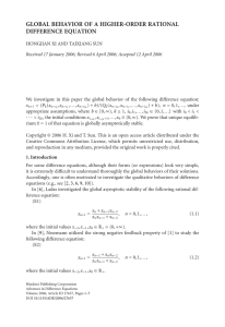 GLOBAL BEHAVIOR OF A HIGHER-ORDER RATIONAL DIFFERENCE EQUATION
