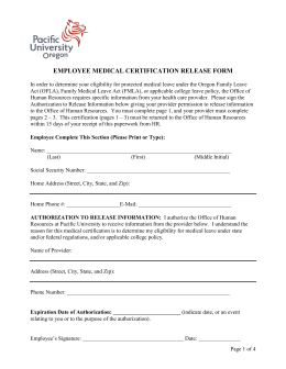 EMPLOYEE MEDICAL CERTIFICATION RELEASE FORM