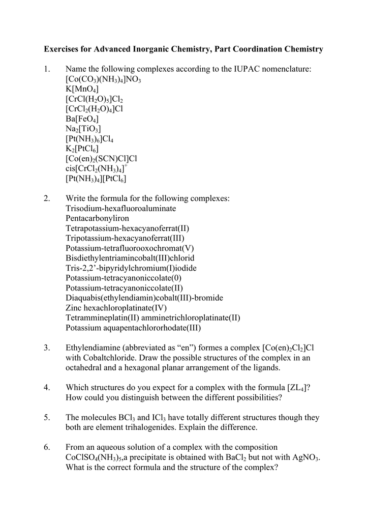 Exercises for Advanced Inorganic Chemistry, Part