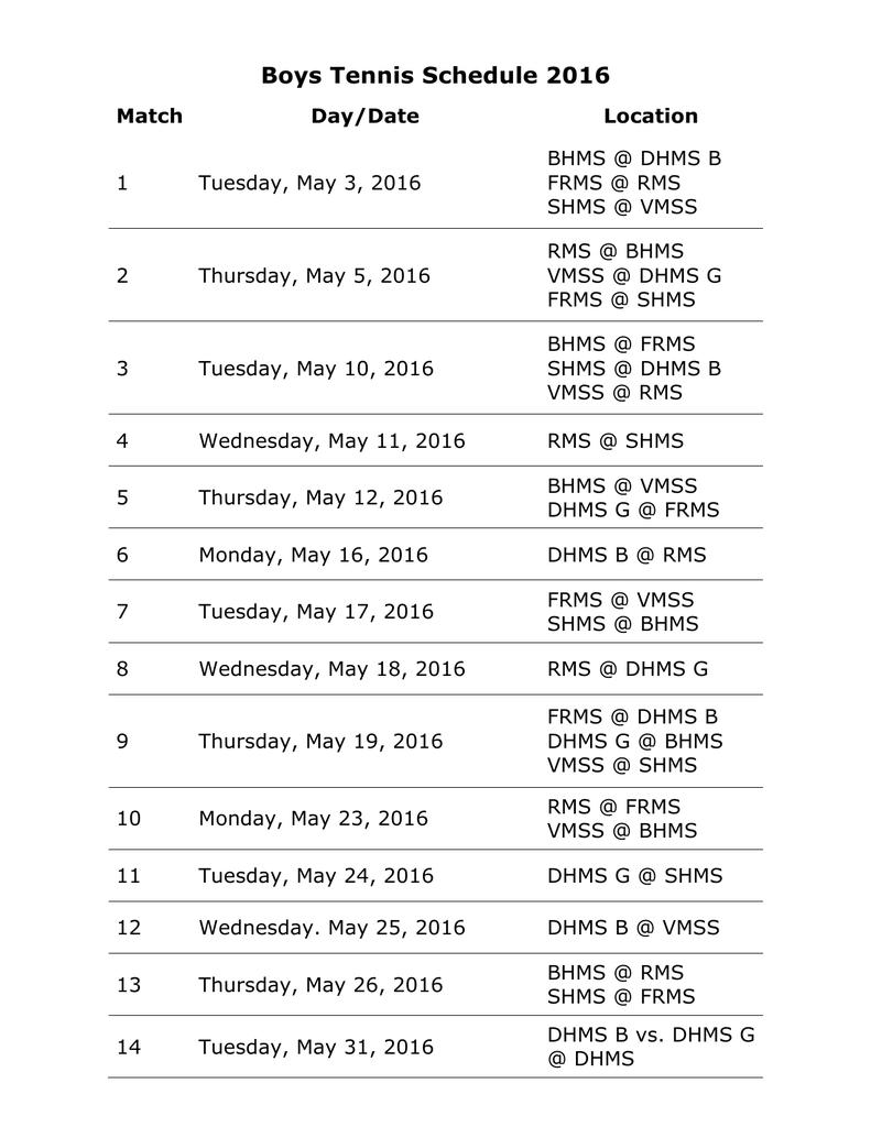 Boys Tennis Schedule 2016