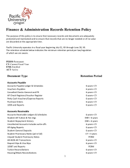 Finance & Administration Records Retention Policy