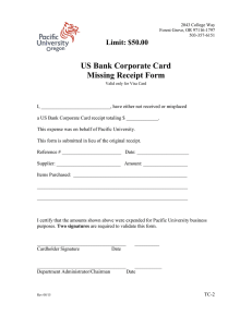 US Bank Corporate Card Missing Receipt Form  Limit: $50.00