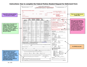 Instructions: How to complete the Federal Perkins Student Request for...