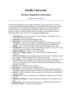 Pacific University Purchase Requisition Instructions