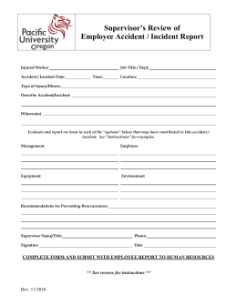 Supervisor's Review of Employee Accident / Incident Report