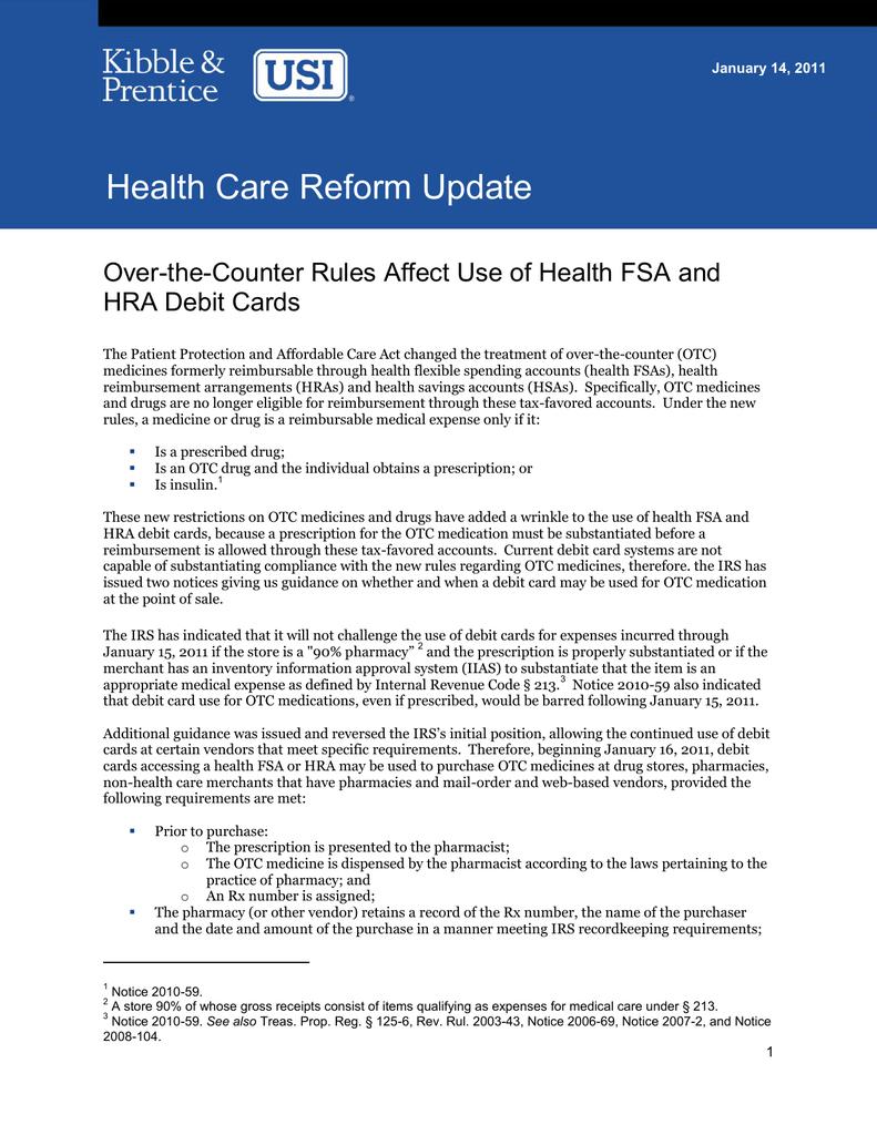 Health Care Reform Update HRA Debit Cards