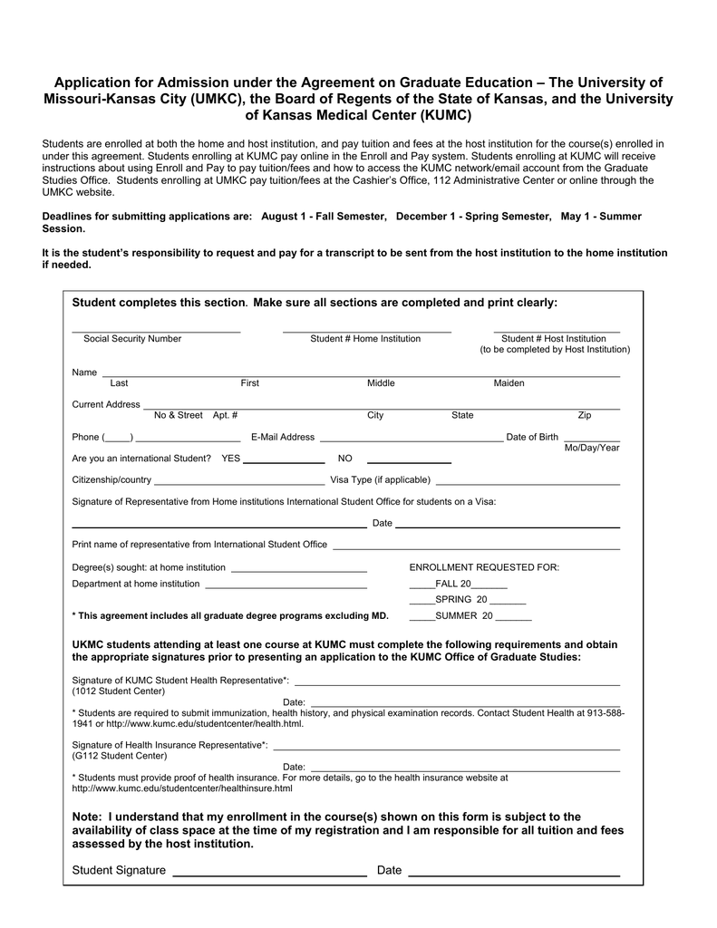 Application for Admission under the Agreement on Graduate