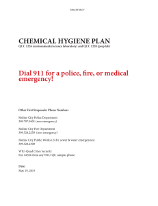 CHEMICAL HYGIENE PLAN Dial 911 for a police, fire, or medical emergency!