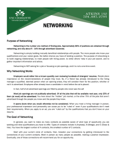 NETWORKING Purpose of Networking