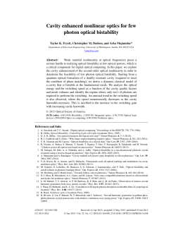 Cavity enhanced nonlinear optics for few photon optical bistability