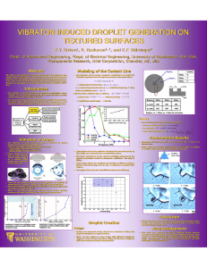 VIBRATON INDUCED DROPLET GENERATION ON TEXTURED SURFACES E.Y. Erdem , R. Baskaran