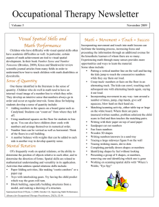 Occupational Therapy Newsletter Visual Spatial Skills and Math Performance