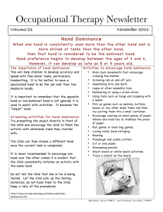 Occupational Therapy Newsletter Hand Dominance Volume 21